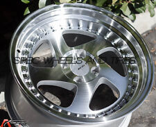"15X8 +25 AVID.1 AV-19 4X100 SILVER MACHINED WHEEL JDM 3"" LIP RIMS"