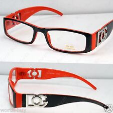 New DG Clear Lens Frame Glasses Fashion Nerd Rectangular Designer Orange Retro