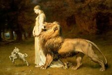 "Una & Lion With Lamb Fairy Tale Painting Large 12.1"" x 18"" Real Canvas Art Print"