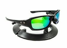 OAKLEY FIVES SQUARED POLISHED BLACK FRAME & REVANT GREEN POLARIZED CUSTOM LENSES