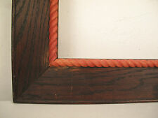 "Mid Century Carved Wood Nautical Rope Picture Frame fits 18"" x 16"""