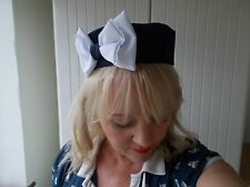 PILL BOX HAT NAVY BLUE WHITE BOW fascinator hatinator ROCKABILLY GLAMOUR 1940
