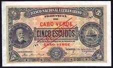 CAPE VERDE 5 escudos  5$00  1921 P-33  SPECIMEN   UNC