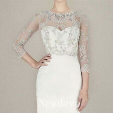 Ivory Crystal Appliques Wedding Jacket 3/4 Sleeve Bridal Boleros Wraps 2017 New
