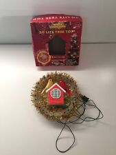 Vtg Singing Christmas Tree Topper Musical Lights Flocked Birds Gold Tinsel