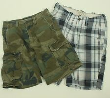 "Lot of 2 American Eagle Hollister Cargo Shorts 28"" Camo Plaid Fatigues Green"