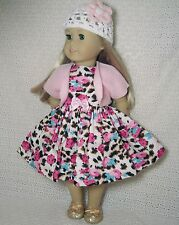 Doll Clothes LEOPARD Pink Roses Flower Dress Shrug Hat 3PC fits American Girl#33