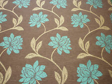 Brown background with teal green floral design curtain/Furnishing Fabric