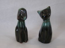 2 BMP MINIATURE DOG & CAT GREEN BLACK 3 1/4  INCHES HIGH  EXCELLENT CONDITION