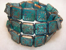 15 Teal w/ Bronze Czech Glass Square Compass Design Beads 12mm