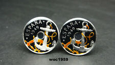 1949 Spain enamelled coin cufflinks  50 centimos