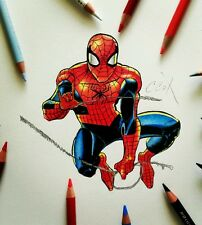 Handmade one of a kind Art Colored pencil Spider man portrait marvel drawing