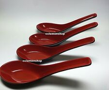 4 x Japanese Chinese Black Red Plastic Soup Spoon Miso ramen