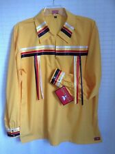 NATIVE AMERICAN REGALIA* NAKODA MADE* Pow Wow YELLOW Ribbon Shirt SIZE XL