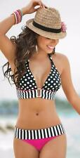 BIKINI - 2 PCE RETRO STRIPES & DOTS BRAZILIAN BLACK & PINK BIKINI SET