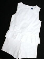 Janie and Jack Blue Belle White Peplum Romper Girl Size 8 Dots Adorable!