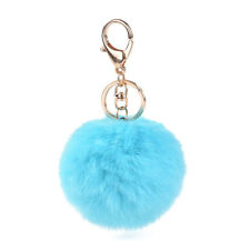 Sky Blue Rabbit Fur Ball Car Keychain Handbag PomPom Charm Key Ring Key Chain