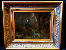 BEAUTIFUL ANTIQUE MAN WITH DOG & GUN HUNTING OIL ON CANVAS PAINTING FRAMED 23X19
