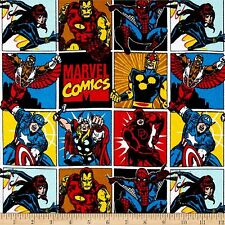 Marvel Comics, Comic Blocks   100% Cotton Flannel  Fabric by Camelot   FQ