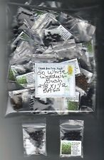 PARTY FAVORS 2 1/2 x 1 1/2 (50)BAGS Labeled WHITE WEDDING BUSH SEEDS+FREE SHIP