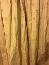 EMBROIDERED HANDMADE LONG LINED CURTAINS GOLD TREE TAPESTRY BROCADE YELLOW SILKY