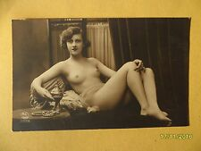 Original French 1910's-1920's Nude Risque Postcard Sexy Lady Lay Down Pose #151