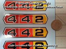 Olds 442 Decals Oldsmobile Vintage Pair X2 Chrome, 4 inches long, Premium, WOW!