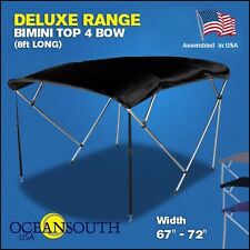 """BIMINI TOP 4 Bow Boat Cover Black 67""""-72"""" Wide 8ft Long With Rear Poles"""