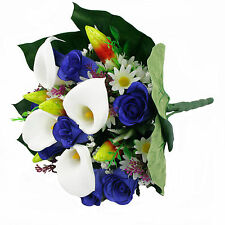 Artificial silk mixed flowers bouquet Calla Lilies Roses 40cm Blue