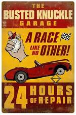 Busted Knuckle Garage 24 Hour Repair Race Metal Sign Man Cave Shop Club BUS029