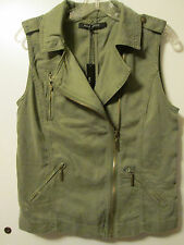 $99 Max Jeans Vetiver Olive Green Tencel Moto Military Style Jacket Vest M NWT