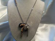 AWESOME Silver Chain w/ 2 Lockets , Lucite Bead & SEVEN Pendant Necklace 15N264