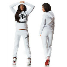 Ladies Womens 2Pcs Tracksuit Hoodies Hoody Sweatshirt Pants Sets SportWear Suit