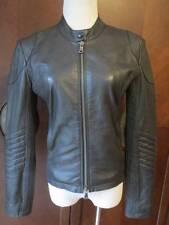 JUNE  Black Zip Up Smocked Elastic Moto Lamb Leather Jacket S Mint!