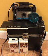 Vintage Polaroid 210 Automatic Land Camera w/ Case, Flash, Cold Clip, & Bulbs