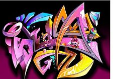 Background effect Cake Topper icing  A4 colourful graffiti nd1 wallpaper art