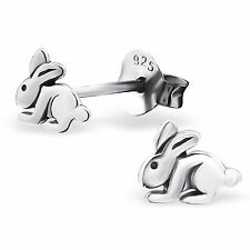 childrens girls 925 Sterling Silver Tiny Rabbit star Stud Earrings 6.5 x 5.5 mm