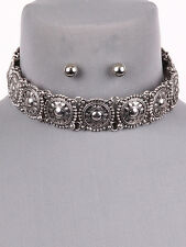 "14"" silver collar choker bib boho necklace earrings"