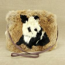 Panda Bear Inlay Hand Muff w Zipper Bag Purse Storage Real Rabbit Fur 11 x 8""
