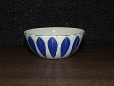 CATHERINEHOLM ENAMEL LOTUS BOWL BLUE ON WHITE 4""