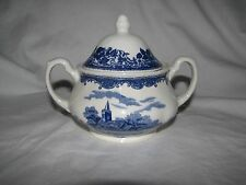 blue transferware  ROYAL TUDOR WARE Staffordshire Olde England SUGAR BOWL