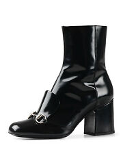 Gucci Chunky-Heel Horsebit Boot, Black (Nero) New In Box  Size 38G/8US