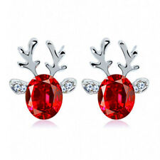 Christmas Crystal Gemstone Rhinestone Reindeer Stud Earrings Red