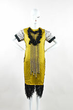 Antonio Marras Black Yellow Gray Mesh Sequin Bead Embellished Shift Dress SZ 44