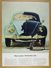 1963 VW Volkswagen Beetle light & dark blue paint car photo vintage print Ad