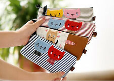 Children Girls Cute Cat Pencil Case Canvas Cartoon Striped Pouch Bag Organizer