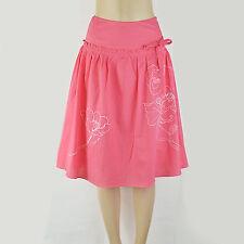 $80 VICTORIA'S SECRET Retro Embroidery Voile Yoke Shirred Midi Skirt 0 XS Coral