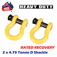 """2 x 4.75Ton Rated 3/4"""" 19mm Bow Shackle 4X4 4WD D-Ring RECOVERY WINCH HEAVY DUTY"""