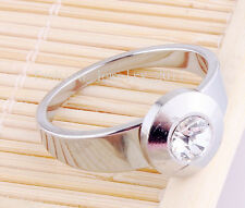 Wholesale Lots 5Pcs CZ Crystal Silver Stainless Steel Men Rings Wedding Gift NEW