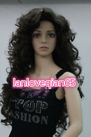 """30""""Fashion Ladies Long dark brown Cosplay Party Curly thick Wigs + Free Wig Cap"""